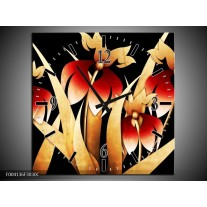 Wandklok op Canvas Bloem | Kleur: Zwart, Rood, Wit | F004136C