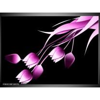 Glas schilderij Tulp | Zwart, Paars, Wit