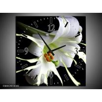 Wandklok op Canvas Bloem | Kleur: Wit, Zwart, Groen | F004139C