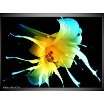 Glas schilderij Bloem | Zwart, Geel, Blauw