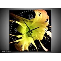 Wandklok op Canvas Bloem | Kleur: Zwart, Geel, Groen | F004142C