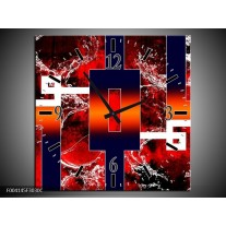 Wandklok op Canvas Abstract | Kleur: Oranje, Rood, Zwart | F004145C