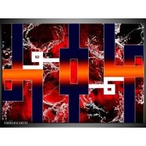 Glas schilderij Abstract | Oranje, Rood, Zwart