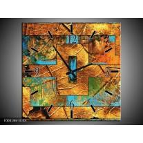 Wandklok op Canvas Abstract | Kleur: Bruin, Blauw, Geel | F004146C