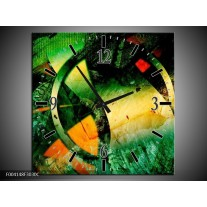 Wandklok op Canvas Abstract | Kleur: Groen, Geel, Rood | F004148C