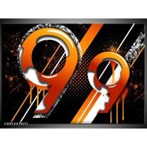 Glas schilderij Abstract | Oranje, Geel, Zwart