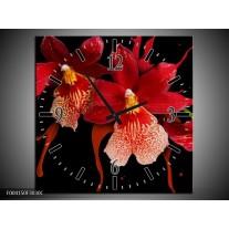 Wandklok op Canvas Orchidee | Kleur: Roze, Rood, Zwart, | F004150C