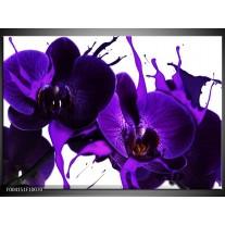 Glas schilderij Orchidee | Paars, Blauw, Wit