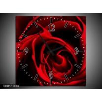 Wandklok op Canvas Roos | Kleur: Rood, Zwart | F004152C