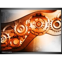 Foto canvas schilderij Abstract | Bruin, Wit, Geel