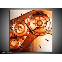 Wandklok op Canvas Abstract | Kleur: Bruin, Wit, Geel | F004157C