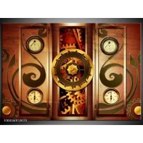 Foto canvas schilderij Klok | Bruin, Rood, Geel