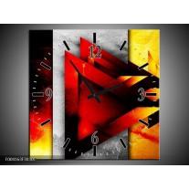 Wandklok op Canvas Abstract | Kleur: Geel, Oranje, Rood | F004163C