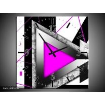 Wandklok op Canvas Abstract | Kleur: Roze, Wit, Grijs | F004164C
