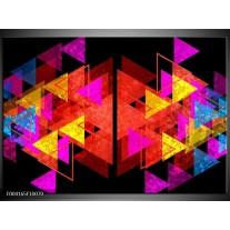 Glas schilderij Abstract | Rood, Geel, Roze