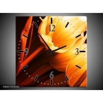 Wandklok op Canvas Tulp | Kleur: Geel, Oranje, Bruin | F004173C