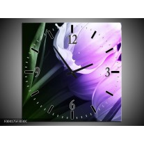 Wandklok op Canvas Tulp | Kleur: Groen, Paars, Zwart | F004175C