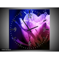 Wandklok op Canvas Tulp   Kleur: Blauw, Paars, Roze   F004176C