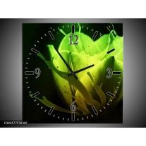 Wandklok op Canvas Tulp | Kleur: Groen, Zwart | F004177C