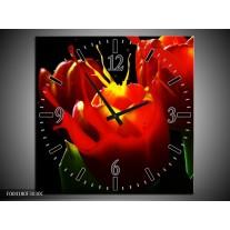 Wandklok op Canvas Tulp | Kleur: Rood, Zwart, Groen | F004180C
