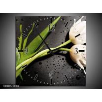 Wandklok op Canvas Tulp | Kleur: Grijs, Groen, Wit | F004185C