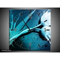 Wandklok op Canvas Tulp | Kleur: Blauw, Wit | F004186C