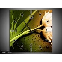 Wandklok op Canvas Tulp | Kleur: Groen, Wit, Bruin | F004187C