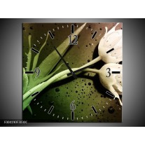 Wandklok op Canvas Tulp | Kleur: Groen, Wit | F004190C