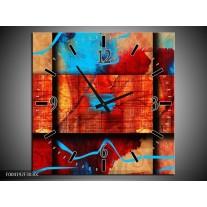 Wandklok op Canvas Abstract | Kleur: Blauw, Oranje, Rood | F004192C