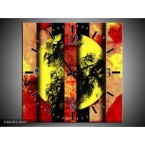 Wandklok op Canvas Abstract | Kleur: Geel, Zwart, Rood | F004193C