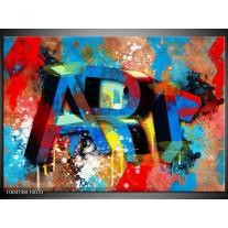 Glas schilderij Abstract | Blauw, Geel, Rood