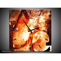 Wandklok op Canvas Abstract | Kleur: Geel, Oranje, Bruin | F004200C