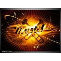 Glas schilderij Muziek | Goud, Geel, Zwart