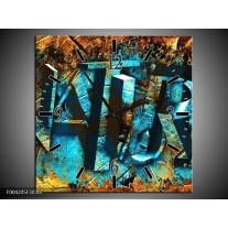 Wandklok op Canvas Natuur | Kleur: Blauw, Bruin, Geel | F004205C