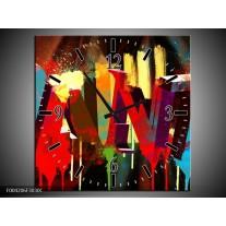 Wandklok op Canvas Abstract | Kleur: Rood, Blauw, Geel | F004206C
