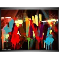 Glas schilderij Abstract | Rood, Blauw, Geel