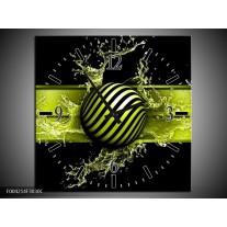 Wandklok op Canvas Abstract | Kleur: Groen, Zwart | F004214C