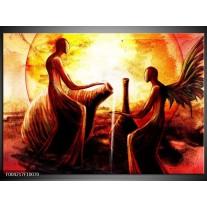 Glas schilderij Engel | Geel, Oranje, Rood