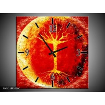Wandklok op Canvas Boom | Kleur: Geel, Oranje, Rood | F004218C