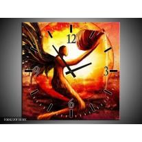 Wandklok op Canvas Engel | Kleur: Geel, Oranje, Rood | F004220C