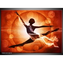 Glas schilderij Dansen | Oranje, Rood, Bruin