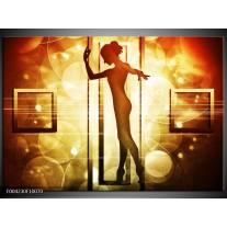 Foto canvas schilderij Dansen | Geel, Wit, Bruin