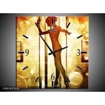 Wandklok op Canvas Dansen | Kleur: Geel, Wit, Bruin | F004230C