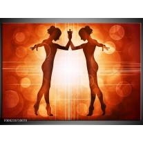 Glas schilderij Dansen   Rood, Wit, Bruin