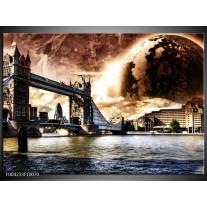 Glas schilderij Londen | Bruin, Wit, Grijs