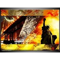 Foto canvas schilderij New York | Geel, Rood, Zwart