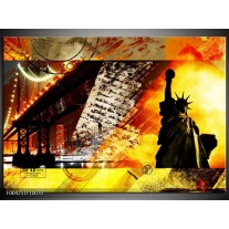 Glas schilderij New York | Geel, Rood, Zwart