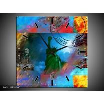 Wandklok op Canvas New York | Kleur: Blauw, Rood, Geel | F004252C