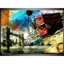 Glas schilderij Engeland | Rood, Blauw, Geel