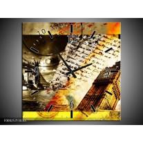 Wandklok op Canvas Engeland | Kleur: Wit, Bruin, Wit | F004257C
